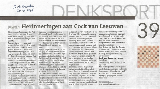 Rubriek Scholma in DvhN over Cock 20-08-2016